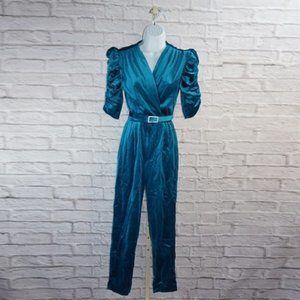 Vintage Teal Velvet Belted Jumpsuit Romper XS